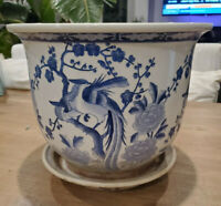 Antique Chinese Blue and White Chinese Planter Pot Marked