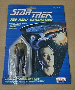 Very Rare Brown Face Data with Speckles 1988 Star Trek Next Generation Galoob