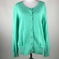 J. Jill Women Mint Green Knit Button Long Sleeve Sweater Cardigan sz M