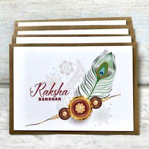 Pack of 4 Rakhi/Raksha Bandhan Greeting Card (blank Inside) Hindu/Sikh Festival