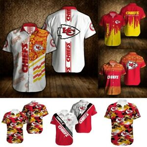 Kansas City Chiefs Hawaiian Shirts Men's Summer Casual Short Sleeve Shirt Tee