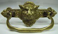 Antique Victorian Lions Head Brass Drawer Pull Architectural Hardware Element