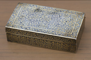 Antique Thai Thailand19th Century Silver Gilt Niello Box with Flowers & Birds
