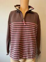 Joules Jumper Ladies Womens Size 12 Brown Pink Zip Stripe Sweatshirt Autumn 14
