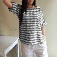Women Baggy Striped Blouse Summer Short Sleeve Tops Casual Plain Shirt Basic Tee