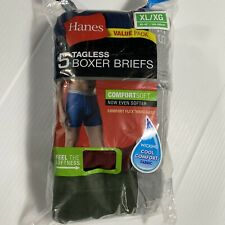Hanes Mens 5-Pack Cotton Tagless Boxer Briefs Wicking Assorted XL 40-42 A2