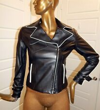 St John Couture Black Ivory Nappa Jacket sz 6