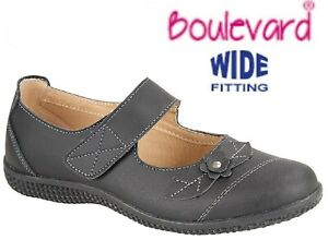 Ladies Leather Extra Wide EEE Fit Comfy Flat Shoes Black Size 3 4 5 6 7 8 9 UK