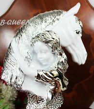 ITALIAN GLOSSY WHITE & SILVER COLOUR HORSE FACE & LADY HOME DECOR  X-MAS GIFT