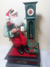 Battery Operated Santa Sitting by Grandfather Clock, Presents,