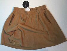 NEW HARLOWE & GRAHAM Womens Camel Brown Suede Skirt Medium M Elastic Waist Dress