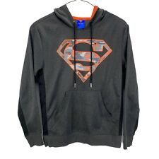 Superman Hoodie Sweatshirt Grey w/ Orange Camo Logo Pullover DC Comics Mens M