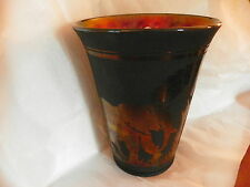 Fenton Art Glass,100th Ann. Sand Carving Vase, Black with Elephants, No. 576