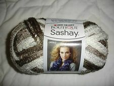 Red Heart Boutique Sashay ruffle yarn NEW 3.5 oz 1 ball/skein Shuffle taupe whit