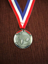 """silver enameled Volleyball medal with neck drape 1 3/4"""" diameter"""