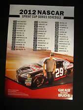 Budweiser NASCAR 2012 Sprint Cup Poster beer bar Kevin Harvick 29 race schedule