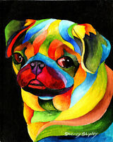PARTY PUG 8X10  DOG Colorful Print from Artist Sherry Shipley