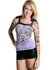 NEW Too Fast  Purple Tank Top Gothic Punk Lolita M Black Glitter Tie Octopus