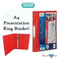 Elba Strong Premium Quality 4 Ring PVC A4 Presentation Ring BinderIn Red