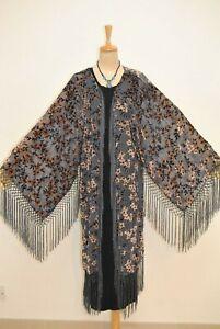 Art Classic Gray Flower Burnout Velvet Fringe Kimono Opera Coat Duster Jacket