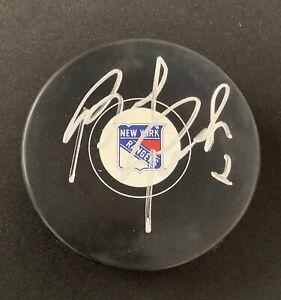 Brad Park Signed Hockey Puck New York Rangers Boston Bruins Autograph JSA 1