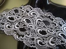 """7""""   **Scallop Edge - Floral** Lace Trim BTY  **STUNNING** BLACK SILVER"""