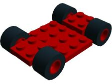 Lego Vehicle Chassis Frame 7x4 Red Classic Town City Car Racing Go Cart