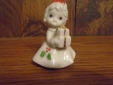 Old Japan Porcelain Christmas Gift Girl White Red Gold Green