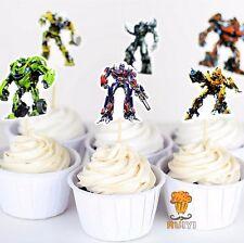 12 x Cardboard Transformers Cake Picks Cupcake Toppers Flag Kids Birthday Party