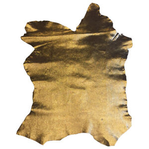 Metallic Gold Genuine Leather Hide Craft Supply Upholstery Fabric Goatskin 953#4
