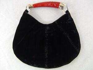 US seller Authentic YVES SAINT LAURENT YSL MOMBASA HORN VELVET SMALL BAG GOOD