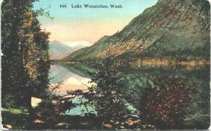C 1910 Lake Wenatchee Mountain Rowboat Washington Antique Postcard