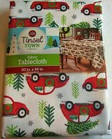 """CHRISTMAS Fabric Table Cloth CLASSIC RED CAR &TREES  60"""" X 84"""" Seats 6-8"""