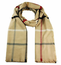Luxury Unisex Long Scarf Soft Touch Checked Multi Check Red Cream Blue Black