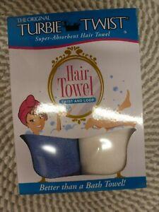 TURBIE TWIST~SUPER-ABSORBENT~TWIST & LOOP~2 PACK BLUE & WHITE
