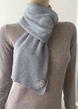 NWT Twisted Heart Cashmere Blend Heather Grey  Scarf with Crystals $70