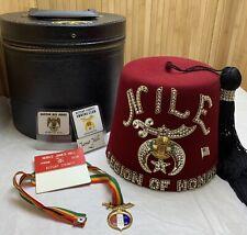 Vtg Free Mason Lot Masonic Legion of Honor Enamel Medal Fez Case Nile Temple WA