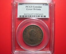 1807 ENGLAND GREAT BRITAIN UK 1/2 PENNY 1/2d SHARP DETAILS! PCGS GENUINE COIN
