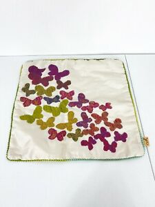 Vintage Silk Butterfly Embroidered Square Pillowcase 17 X 16 Bedding Sofa Pillow