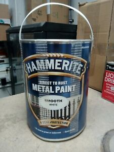 Hammerite Metal Paint Smooth White 5L (5084861) direct to rust