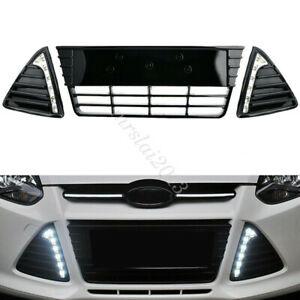 Car Front Center Bumper Radiator Grille DRL LED Fog Light For Ford Focus 11-14