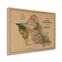 HISTORIX 1881 Oahu Hawaii Vintage Map