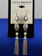 Lucky Brand Silvertone Bone Beaded Pave' Chain Tassel Earrings JLRY6829 $39