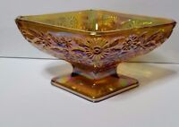 Carnival Glass Candy Dish Yellow Iridescent Marigold Pedestal Bowl Floral