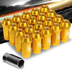 J2 Gold Close End Acorn Tuner 25MM OD/50MM M12 x 1.50 20 Pcs Lug Nuts+Adapter