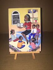 3D Hand Painted Ceramic Plaque, Sunday School Teachings. 6X4 On Wooden Easle