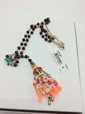 $65 Betsey Johnson Calypso  Skull Girl Beaded Pendant Necklace BT-4
