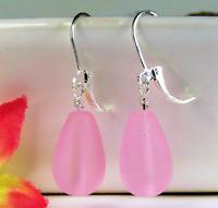 SEA GLASS Teardrop Pink STERLING SILVER .925 Dangle Earrings USA MADE