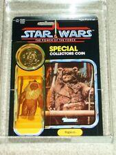 Vintage Star Wars 1985 AFA 80/85/85 PAPLOO Ewok POTF 92 back Kenner MOC!