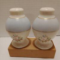 Vintage Porcelain Floral Salt And Pepper Shakers Light Blue And Pink Gold Trim